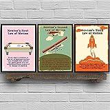 Slagman Newtons Gesetze Der Bewegung Vintage Poster Und Drucke Physik Wandkunst Leinwand Gemälde Bilder Office Wall Decor Physiker Geschenke 50 * 70Cm*3