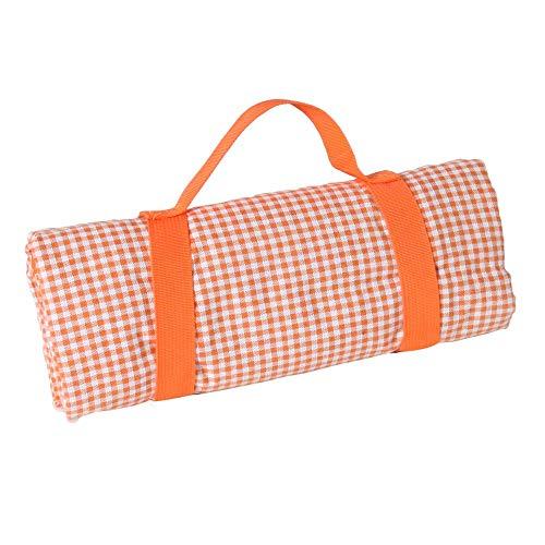 Les Jardins de la Comtesse - Quadratische Picknickdecke Orange-kariert - Baumwolle/beschichtete Rückseite Polyester - Faltbare Picknickdecke mit Halterung - Auch für Gartentisch - 140 x 140 cm