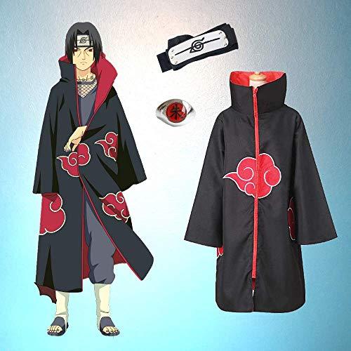 Kit Akatsuki Capa + Bandana Anel Itachi Uchiha Anime Naruto Tamanho: M