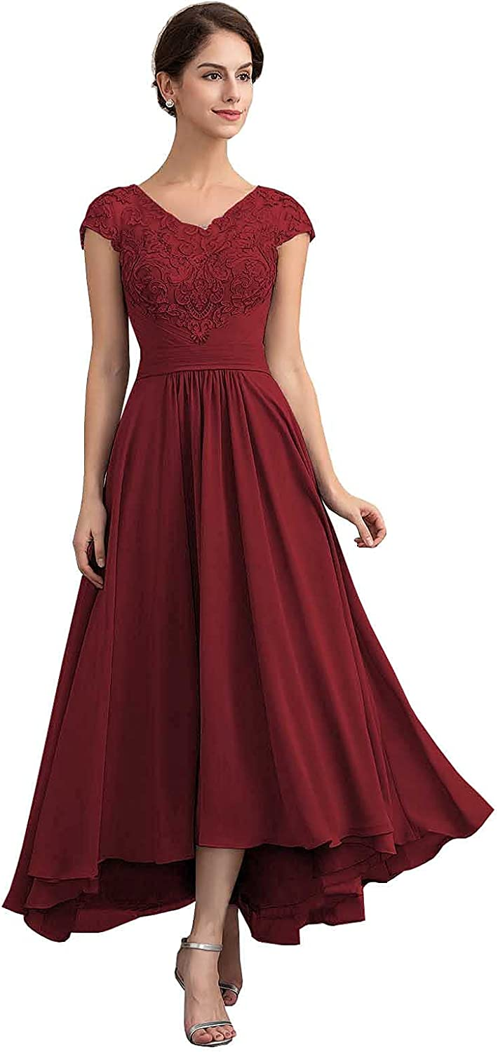 Chiffon Hi-Lo Mother of The Bride Dresses Formal Evening Gowns Lace Appliques Short Sleeves Dress for Women with Pockets