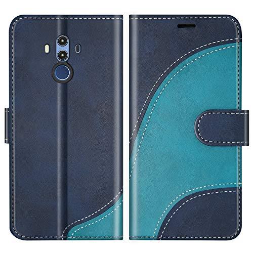 BoxTii Hülle für Huawei Mate 10 Pro, Leder Handyhülle für Huawei Mate 10 Pro, Ledertasche Klapphülle Schutzhülle mit Kartenfächer & Magnetverschluss, Blau