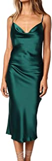 Women's Sleeveless Spaghetti Strap Satin Dress Cocktail...