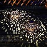 2Pcs Solar Lanterns Outdoor Hanging Garden Lights Decorative Metal Moon Star Sun Table Lamps for Patio, Yard, Walkway Decorations Water-Resistant (Bronze)