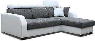 MEUBLO Canapé d'angle Convertibles 3/4 Places Tissu + Simili Cuir Cobby (Gris, Canapé d'angle Droit)