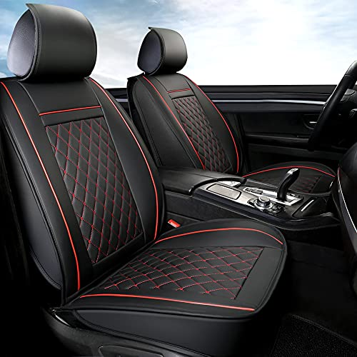 GIANT PANDA Luxury Leather Front Car Seat Covers, 1 Pair Faux...