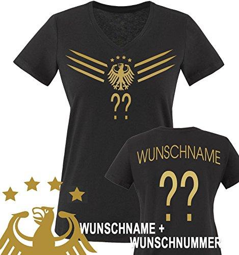 Comedy Shirts - WM 2014 - Deutschland - Deluxe F1-VH-Wunsch - Damen V-Neck T-Shirt - Schwarz/Gold Gr. S