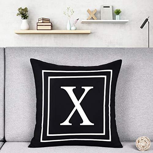 Alishomtll Kissenbezug mit Buchstaben-Motiv, weiches Plüsch, dekorativer Kissenbezug, 45 x 45 cm, Schwarz