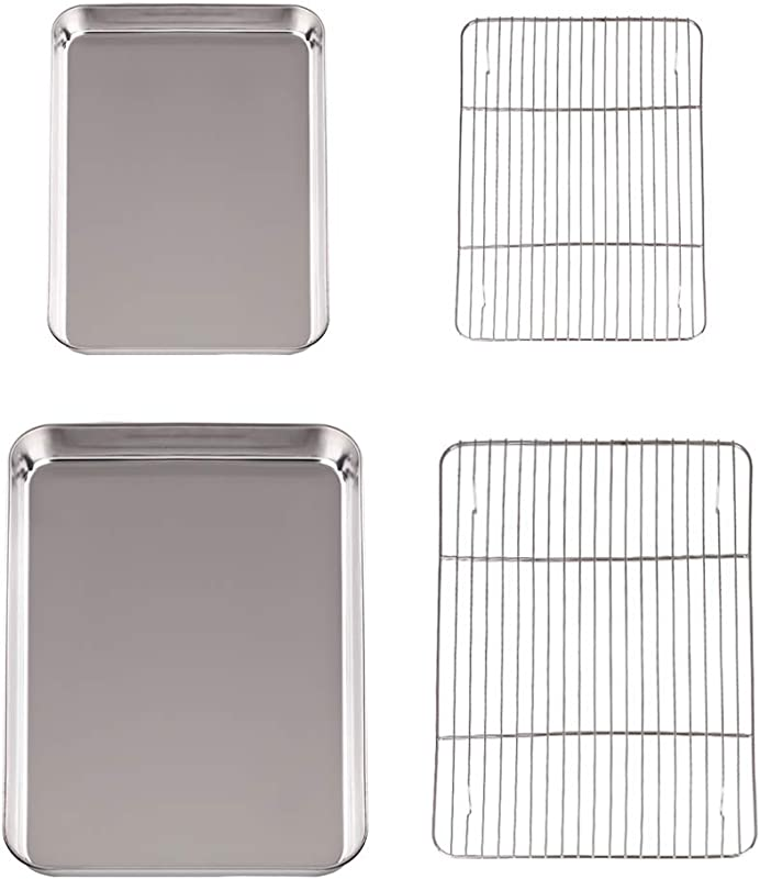 Disumos Baking Sheet With Rack Set Stainless Steel Baking Pan And Cooling Rack Rectangle Baking Pans Tray Sheet With Cooling Rack Pack Of 4 2 Sheets 2 Racks