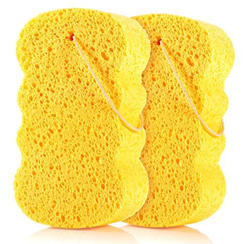 GAINWELL Natural Cellulose Bath Sponge – Soft Body Sponge for Shower 2PCS
