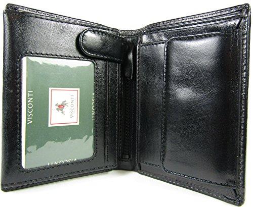 New Visconti Monza top of The Range Multi Pocket Italian Leather Mens Wallet Money Bag Style MZ3 (Black)