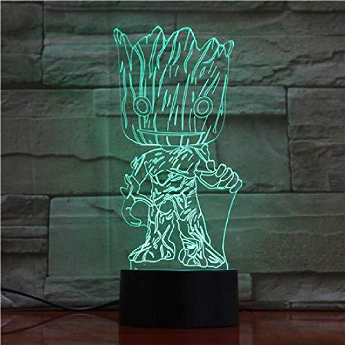 Lampe Illusion 3D Led Veilleuse Nouveauté Marvel Comics Gardiens De La Galaxie Groot Figure Cadeau Pour Enfants
