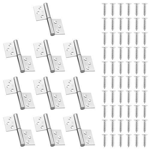 WiMas 10 bisagras de acero inoxidable de 7,6 cm, pequeñas articulaciones de bandera, bisagras desmontables para puerta izquierda, bisagras desmontables, bisagras para muebles de hogar con 60 tornillos