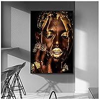 黒と金のアフリカの芸術の女性のポスター印刷現代の家の装飾のキャンバスの絵画リビングルームの壁画のための黒人女性の壁の写真60x80cm(24x32in)
