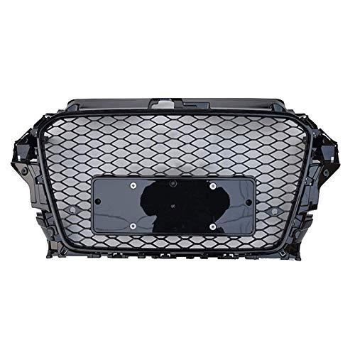 Xinshuo Parrilla de parachoques delantero de rejilla de radiador frontal de malla tipo panal ABS estilo RS3 para A3 / S3 8V 2013-2016