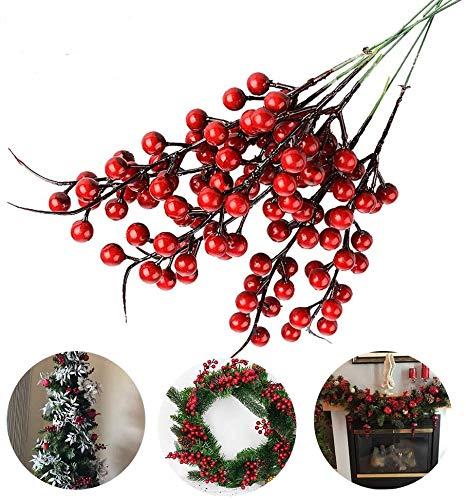 Jycra Bayas rojas artificiales de Navidad, paquete de 10 bayas de flor de acebo de bayas de fruta falsa para decoración de fiesta navideña de árbol de Navidad - 26cm