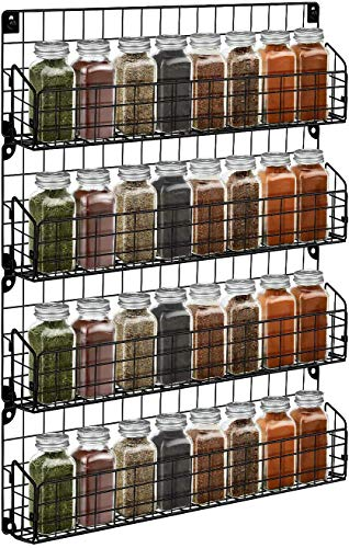 Spice Rack Organizer Wall Mounted Amtiw 4Tier Stackable Iron Wire Hanging Spice Shelf Storage Seasoning Holder for Kitchen and Pantry Storing Spices Household ItemsBathroom Black