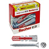 Fischer 10 Tasselli Duopower con Vite, 10 x 50 mm, per Muro pieno, Mattone Forato, Cartongesso, 544018