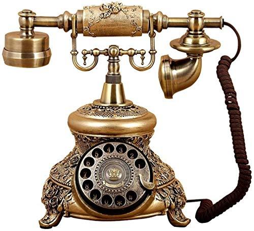 FANPING Teléfono de la Vendimia/Retro Teléfono con Madera y Cuerpo de Metal, Rueda giratoria Funcional y clásico - Metal Final del Bronce teléfono Fijo, Botón Inalámbrico (Color : Turntable)