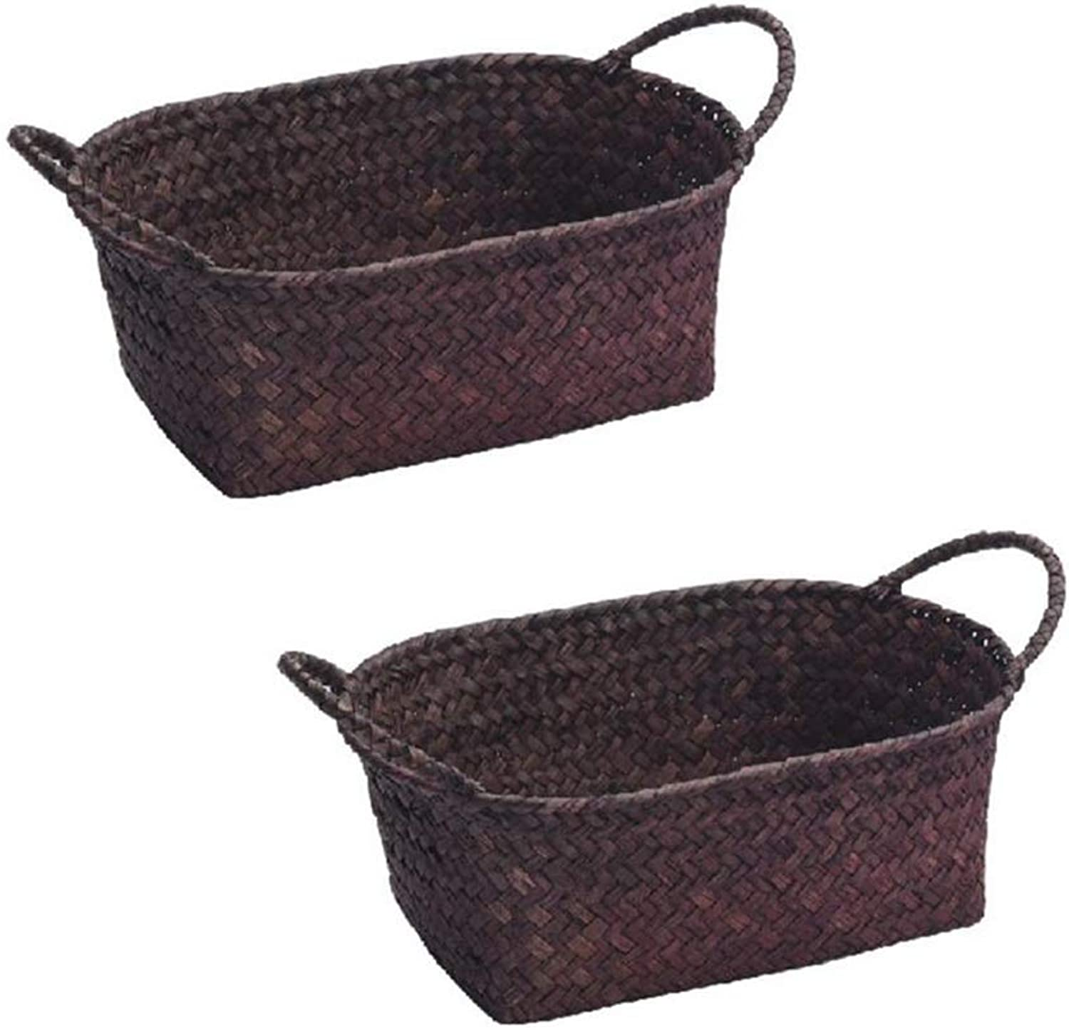 MUMA Storage Basket Handicraft Woven with Handle Durable Sundries Snack Desktop Organizer Container (color   Coffee color, Size   28x18x9cm)