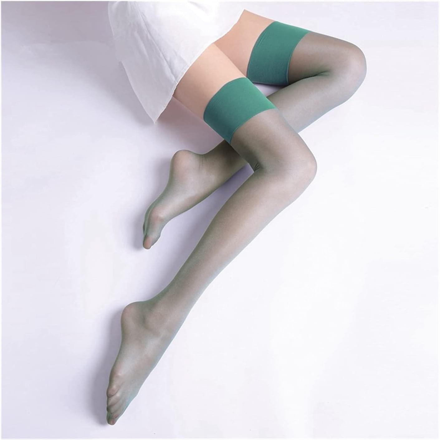 Linyuex Fashion Stockings Retro Oil Shiny Thigh High Stockings Ultra Thin Transparent Pantyhose Women Long Medias (Color : Green)