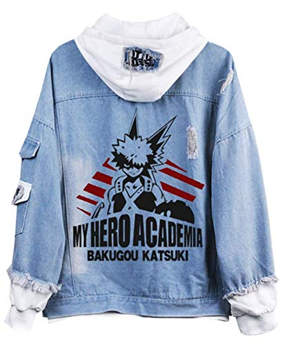 Cosstars My Hero Academia Anime Hoodie Jeansjacke Unisex Cosplay Denim Jacket Outwear Mäntel 8 S