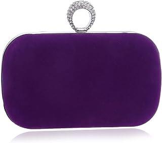 DIEBELLAU Ladies Suede Dinner Bag Fashion Party Bag Dress Handbag Clutch Bag (Color : Purple, Size : XS)