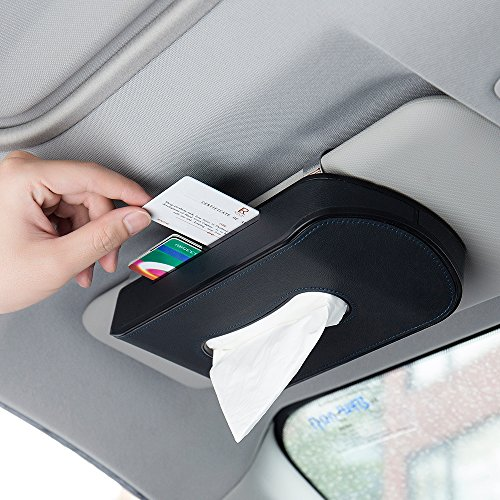 Mr.Ho Black Leather Car Visor Tissue Holder Mount, Hanging Tissue Holder Case for Car Seat Back, Multi-use Paper Towel Cover Case With One Tissue Refill for Car & Truck Decoration