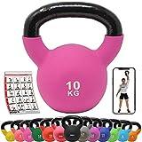 POWRX Kettlebell ghisa 10 kg - Ideale per Esercizi di Functional Fitness - Rivestimento in Neoprene & Presa Antiscivolo + PDF Workout (Pink)