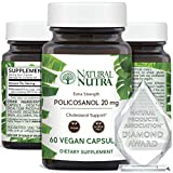 Natural Nutra Policosanol 20mg with Octacosanol, Antioxidant Supplement for Cholesterol, Promotes Blood Circulations, Improves Cardiovascular Health, Maintain Arteries, 60 Vegan Capsules