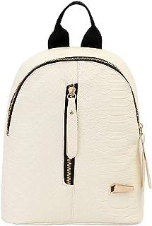 Wultia - Backpack Women Men Women Leather Backpacks Schoolbags Travel Shoulder Bag Mochila Mujer White