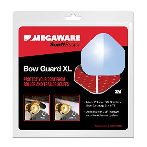 MEGAWARE KEELGUARD - ScuffBuster Bow Guard for Boat Hull, XL Solid-No Notch, 9' X 8.75', 3M Adhesive, 316-Stainless Steel, 80637