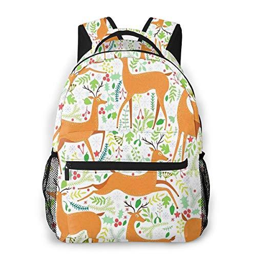 Rucksack Männer und Damen, Laptop Rucksäcke für 14 Zoll Notebook, Hirsch Pflanzen Floral Seamless Kinderrucksack Schulrucksack Daypack für Herren Frauen