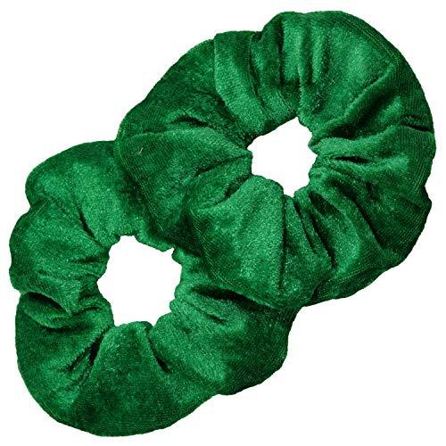 Kenz Laurenz Scrunchies for Hair - 2 Velvet Hair Ties for Women Girls Hair Elastics Ponytail Holder Scrunchy Girl Irish Green St Patricks Day Accessories Clover Gift Packs Scrunchie Pack (Green)