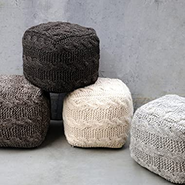 Norway Ivory Fabric Pouf
