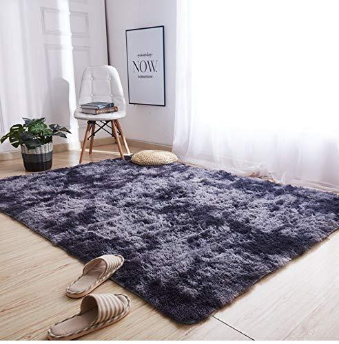 AMZERO Alfombra de Salón Alfombras en IKEA Alfombras Salon Modernas Pelo Largo Fluffy Alfombra para Salón, Suave Mullida Duradera Resistente, Gris Oscuro 80x140cm
