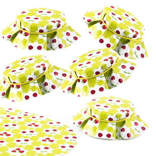 Logbuch-Verlag 10 Deckchen für Marmeladengläser grün rot mit Kirschen & Erdbeeren Ø 14,8 rund - Marmeladendeckchen aus Papier