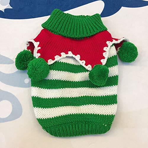 GKKXUE Hund Pullover Weihnachten Outfits Kostüm Welpen-Katze-Winter-warme Strickwaren Hoodies Sweatshirt Haustier-Kleidung (Color : Green and White, Size : S)