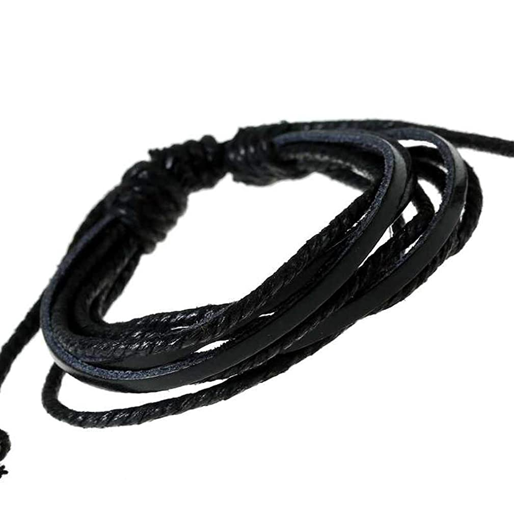 Stylish Leather Cotton Rope Adjustable Men Women Wristband Hand Made Clothing Accessories Bracelets Jewelry(picture 2)