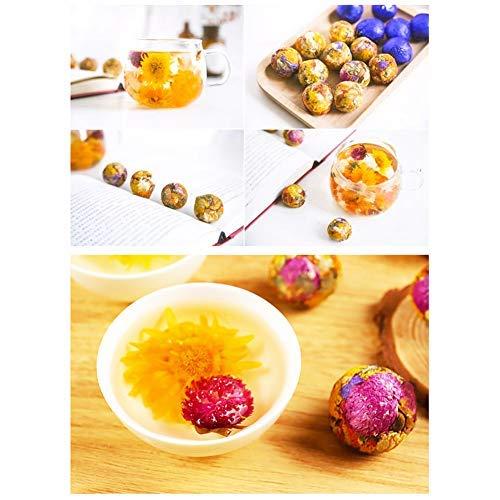 Organic Blooming Flower Tea Balls Kit Natural Herbal Blooming Tea Gift Set Handmade Press Art Teas Ball- One Flavors Mixed Flowering Tea Variety Pack of 10