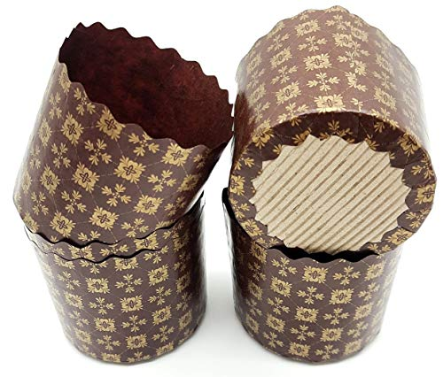 5 oz Panettone Paper Mold | 25 Pack | Round Standard Non Stick Panettone Paper Bread Baking Molds - Brown Design W 2.75 x H 3.35-In by SHSH trade group