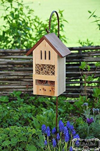 ÖLBAUM Gartendeko Nistkasten groß hell für Marienkäfer Schmetterling Insektenhotel Kombi mit Halter KOMPLETT mit Schäferstock Hakenhalter Höhe 125 cm, BD-MMS