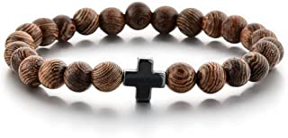 دستبند مهره های نماز مسیحی - 25 مهره چوبی