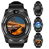 Padcod V8 Sports Smartwatch Bluetooth with Camera Message Push Touch Screen Pedometer Sedentary Reminder Sleep Monitor Instant Notification Anti-Lost Smartwatch for Android Phone (Black+Black)