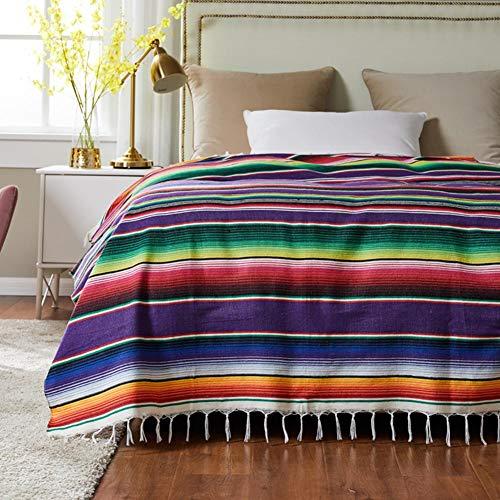 Yoouo Picknickdecke, Stranddecke im Freien, Stranddecke aus Baumwolle Baumwolle Mexikanische Indianer Handgefertigte Regenbogendecke Home Tapestry- Strandpicknickmatte