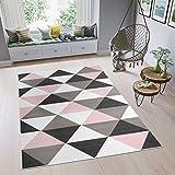 TAPISO Pimky Alfombra de Salón Sala Juvenil Diseño Moderno Rosa Gris Blanco Negro Triángulos Mosaico Suave 200 x 300 cm