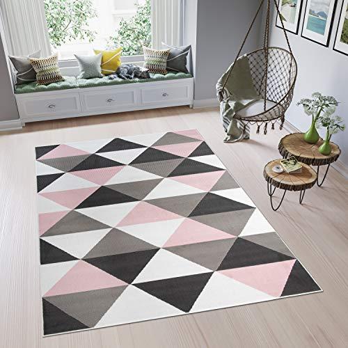 TAPISO Pinky Tapis de Chambre Enfant Bébé Ado Design Moderne Rose Gris Blanc Noir Géométrique Triangles Doux Fin 80 x 150 cm