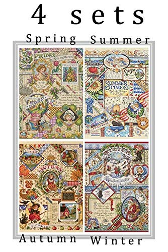 Zamtac Gold Collection Lovely Counted Cross Stitch Kit Spring Summer Autumn Winter Time Sampler janlynn Four Seasons Season - (Color: 4 Seasons, Cross Stitch Fabric CT Number: 14CT unprint Canvas)