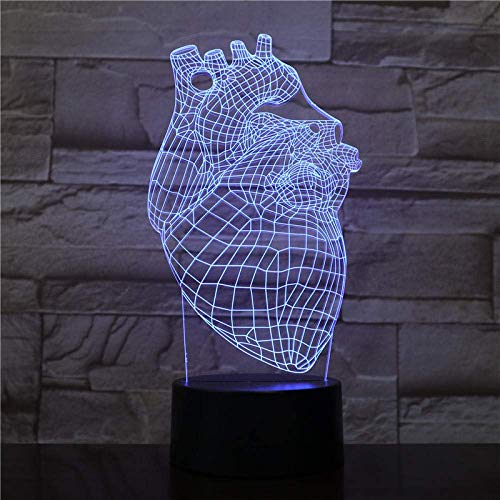 3D Illusion Lamp Led Night Light Heart Battery Operated 7 Colors with Remote Cool Gift for Kids Bright Base Atmosphere