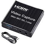 Capturadora de Video 1080P 60FPS, 4K USB 3.0 HDMI Game Capture Card, paraTransmisión en Vivo de Transmisión de Vídeo para Juegos, Transmisión, Enseñanza, Videoconferencia
