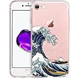 Unov Case Clear with Design Embossed Pattern TPU Soft Bumper Shock Absorption Slim Protective Cover for iPhone 8 iPhone 7 4.7 Inch(Great Wave)